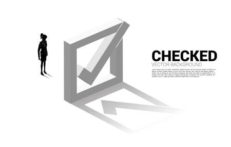 Silhouette businesswoman standing with 3D check box. concept for election voting themed background.