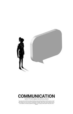 Silhouette of businesswoman standing with bubble speech. concept of chat bot engine and communication.