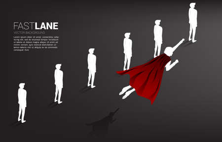Silhouette of superhero flying over row of people. Concept of boost and growth in business. Illusztráció