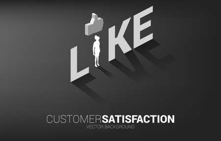 Silhouette businesswoman standing with 3D thumb up icon in like wording. concept of customer satisfaction , client rating and ranking.