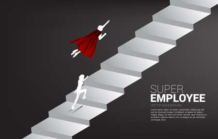 Silhouette of superhero flying run up to stair. Concept of boost and growth in business. Illusztráció