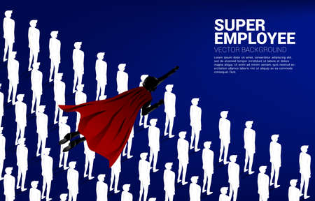 Silhouette of superhero flying over group of people. Concept of boost and growth in business.