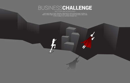 silhouette of superhero fly over across abyss. concept of business challenge and courage man Illusztráció