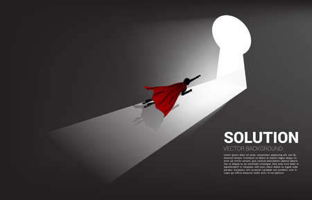 silhouette of businessman flying to move out to key hole door. Find the solution concept vision mission and goal of business Illusztráció