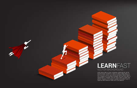Concept background for power of knowledge. Silhouette of businessman running and flying on stack of books.
