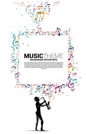 Vector music melody note flow with man and saxophone. Concept background for jazz song and concert theme. Illusztráció
