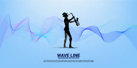 Vector saxophonist with wave from line. Concept background for jazz song and concert theme.