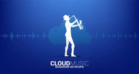Vector silhouette of saxophonist Cloud music and sound technology concept .equalizer wave as cloud shape Illusztráció