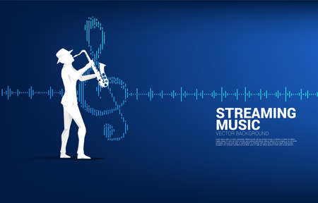 Vector silhouette of saxophonist with music note icon Sound wave Equalizer background. Concept background for jazz song and concert theme.