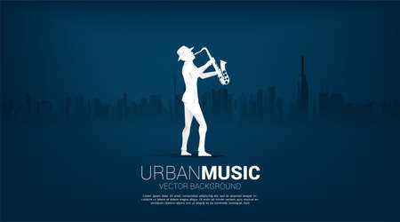 Vector silhouette of saxophonist with city background. Concept for city of jazz music.