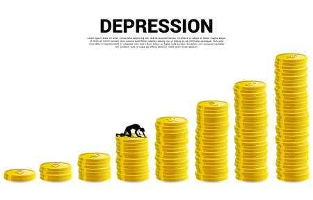 silhouette of businessman crawling on stack of coin. Concept for depression business in work. Ilustración de vector
