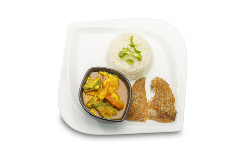 cha om: Asian food. Accacia Leave Omelet and Shrimp in Tamarind Flavor Soup With Rice on isolated  white background, kang-som-cha-om-koong.