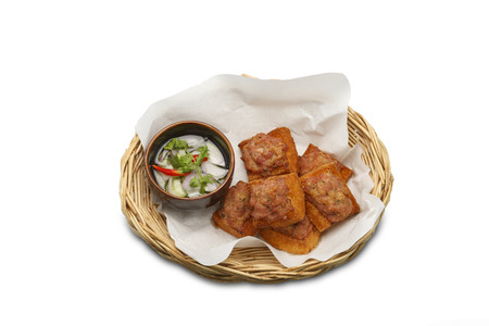 basketry: Asian food. Fried Bread With Minced Pork Spread  on isolated white background Stock Photo