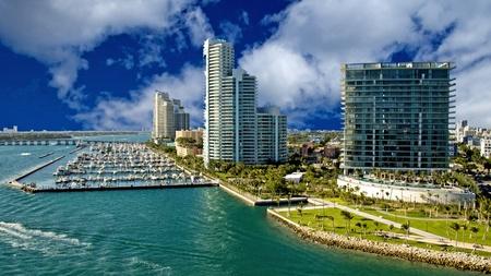resorts: Miami Beach Coast in Florida, U.S.A. Stock Photo