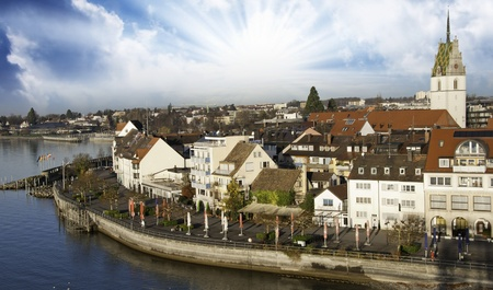 Typical Homes and Buildings of Friedrichshafen, germany Stock Photo