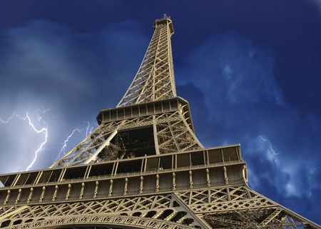 Storm over Eiffel Tower in Paris, France photo