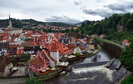 Cesky Krumlov Medieval Architecture and its Vltava River, Czech Republic photo