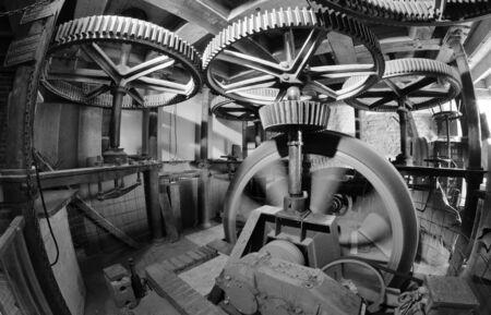 schermerhorn: Ancient Mill Interior in Netherlands Stock Photo