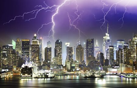 lightning storm: Storm and Lightnings in the Night of New York City