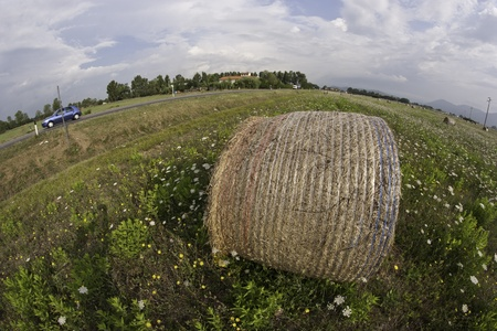 Fisheye view of a Haybale in a Tuscan Meadow, Italy photo