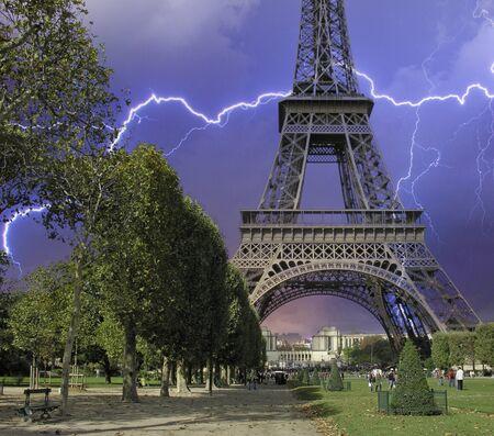Storm approaching Eiffel Tower, Paris