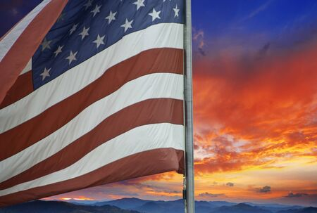 Sunset over American Flag, U.S.A.