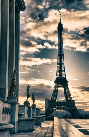 paris at night: View of Eiffel Tower from Trocadero, Paris Editorial