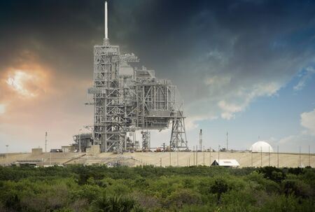 cape canaveral: Sky Colors over Space Shuttle Launch Pad in Cape Canaveral Stock Photo