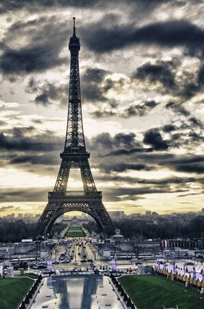 Colors of Eiffel Tower in Winter, Paris