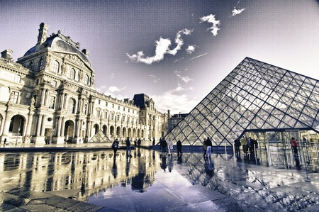 Architectural Structure of Louvre Exterior, France Editorial