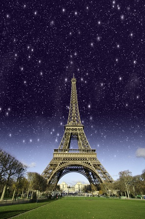 Eiffel Tower at Night in Paris, France photo