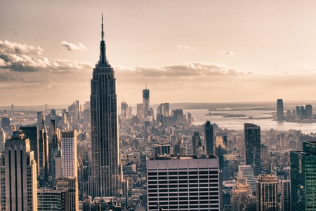 empire state building: Skyscrapers of New York City in Winter, U S A