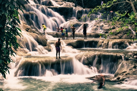 Ocho Rios Dunn River Waterfalls in Jamaica Stock Photo