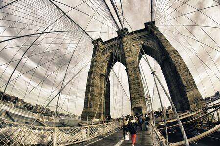 Architectural Detail of Brooklyn Bridge Structure, New York City photo
