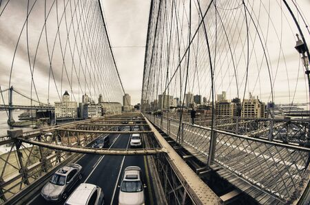 Brooklyn Bridge Exterior Detail in New York City photo