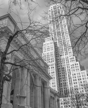 New York Public Library and Surrounding Skyscrapers, U.S.A. Stock Photo - 13203881