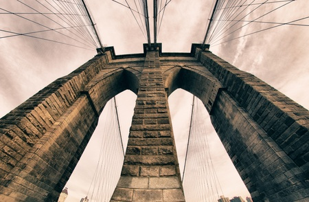 suspension bridge: Architectural Detail of Brooklyn Bridge, New York City Stock Photo