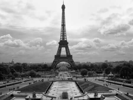 Dramatic Black and White view of Eiffel Tower in Paris photo