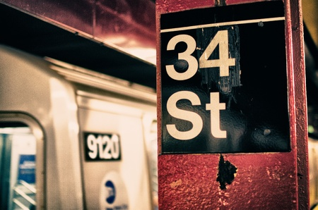 new york city times square: New York City Subway Detail, U.S.A. Stock Photo