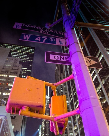u s a: New York City Street Signs at Night, U S A