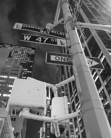 times: New York City Street Signs at Night, U S A