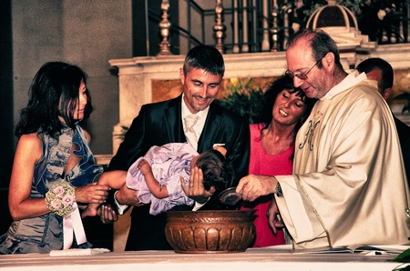 Baptism of a Baby Girl, Italy Editorial