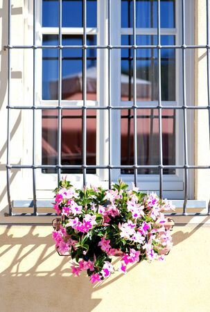 louvered: Contryside House Window with Flowers, Italy