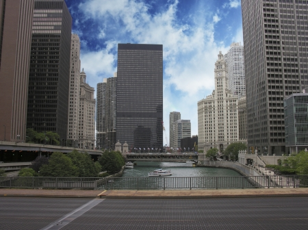 Skyscrapers of Chicago and its River, Illinois photo