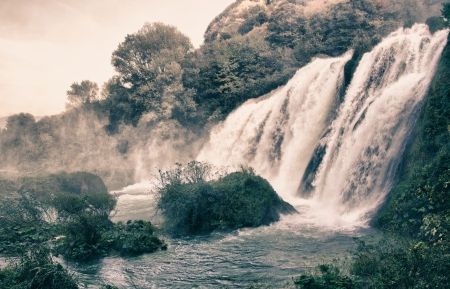 refraction of light: Stunning view of Marmore Waterfalls, Italy Stock Photo
