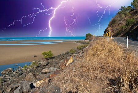 Storm on the Road along the Coast of Queensland, Australia photo