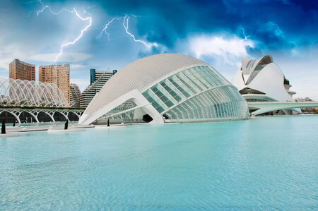 Sky Colors over Modern Buildings of Valencia, Spain