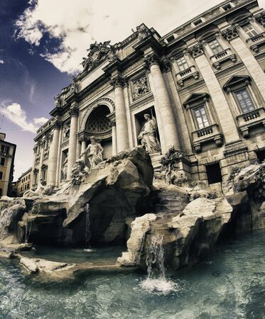 Colors of Trevi Fountain in Rome, Italy photo