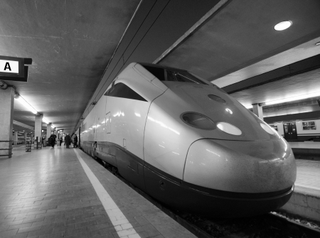 High Speed Train departing from Florence Station, Italy