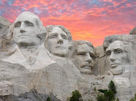dakota: Sunset over Mount Rushmore, South Dakota, U.S.A.
